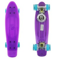 Glow in the Dark Purple Fish Skateboard Plastic Retro Blank Cruiser Blue LED New