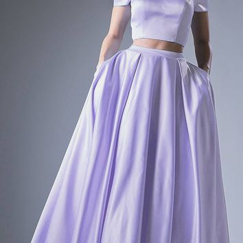 Lilac Off Shoulder Two-Piece Long Prom Dress with Pockets