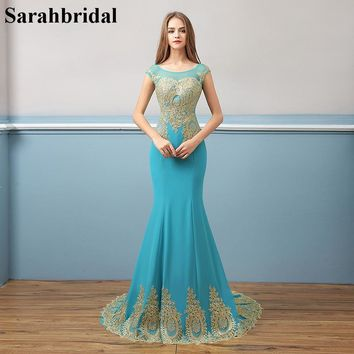 Elegant Royal Blue Chiffon Formal Evening Dresses Gold Lace 2017 Mermaid Prom Gowns Lace Up Prom Dresses Robe De Soiree XU039