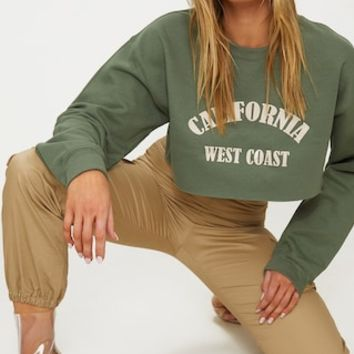Khaki California Slogan Crop Sweater