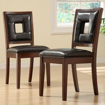 HomeVance 2-pc. Oakes Dining Chair Set (Brown)