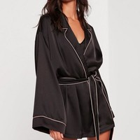 Missguided - Black Kimono Piping Detail Silk Robe