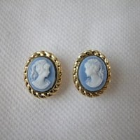 Cameo Stud Earrings Blue Victorian Lady Gold Rope Frame Style 14x11mm