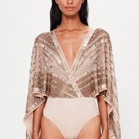 Missguided - Peace + Love Bronze Plunge Embellished Kimono Sleeve Bodysuit