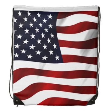 American Flag Drawstring Backpack