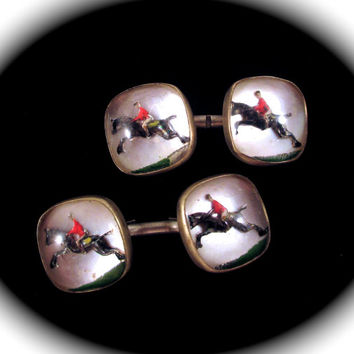 Vintage ESSEX GLASS CUFFLINKS Fox Hunting Hunter Jumper Horse & Rider Intaglio Bubble Glass Cuff Links Unisex Design