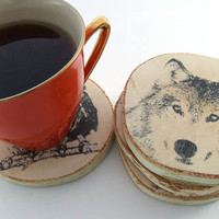 "Rustic Birch wood coasters ""Wild animals"" - set of 4"