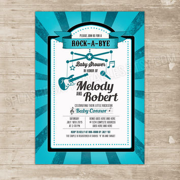Rock-a-bye Baby co-ed couple Baby Shower Rockstar invitation - rock star electric guitar turquoise boy DIY printable rock a bye invite
