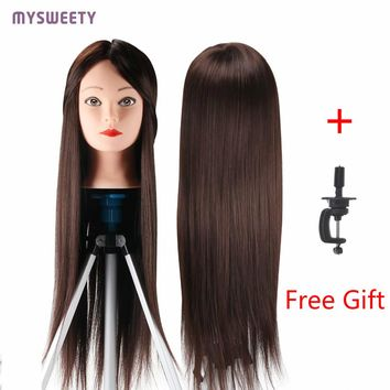 Professional Mannequin 23 inch Hair Styling Mannequin Long Hair Hairdressing Head Training Doll Female Mannequins