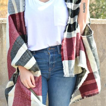 Feel The Chill Shawl - Burgundy