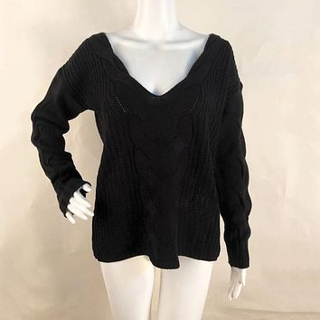 Women's Sexy V Neck Oversized Off Shoulder Sweaters Jumper Hollow Soft Warm