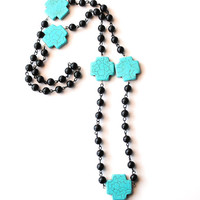 Turquoise Cross and Black Bead Necklace by theblackfeather on Etsy