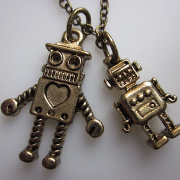 ROBOT FRIENDS Necklace. Pair of Robots by lovespelljewels
