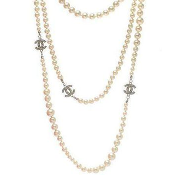 DCCKNQ2 Chanel Woman Fashion Logo Pearls Necklace For Best Gift-16