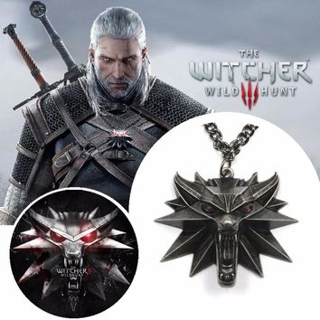 ZOEBER The Witcher 3 Wild Hunt Medallion Pendant black Chain alloy red eyes magic animal Necklace for  Video games figure