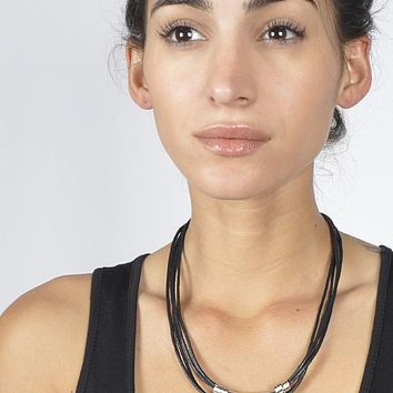 Multi Layer Braided Cord Necklace with Metal Embellishments