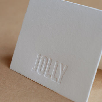 Christmas Card Set : Impression (no ink) Jolly Holiday Cards - box set of 5 small folded letterpress printed cards w soft white envelopes