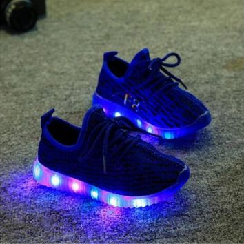 2017 HOT Fashion LED Baby's Children's shoes girls boys casual Lighted Mesh Breathable sneakers shoes with lights for kids baby