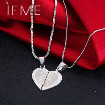 2016 Valentine's Day Couples Lovers Promise Double Half Heart Statement Necklace Colar Silver Color Necklaces & Pendants