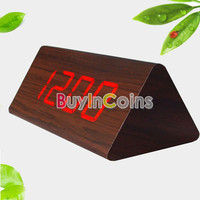Triangular Red LED Digital Wooden Alarm Clock Wood Framework 828 Brown SCUS