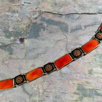 Vintage David Andersen Norway Bracelet Guilloche Enamel Bracelet Scandinavian Silver Gold Gilt Coppery Orange Black Fabulous Contrast Colors