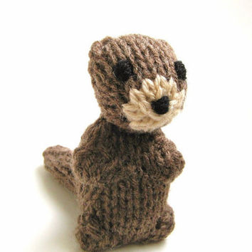 Miniature Otter - Amigurumi Knit Toy - Hand Knitted Childrens Stuffed Animal - Plush Kids Toy