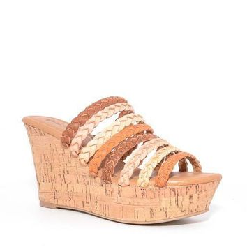 Tan Ariel Braided Strap Wedge Sandals