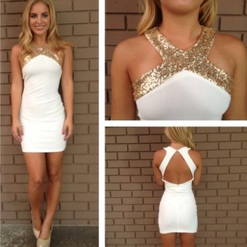 White/Gold Short Dress Size: Small Excellent Cond.
