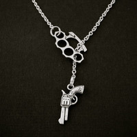 Brass Knuckle Necklace Duster Gun Lariat Silver by ZenbuTradingCo