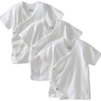 Gerber Unisex-Baby Newborn 3 Pack Short Sleeve Side Snap Shirt, White, 0-3 Months