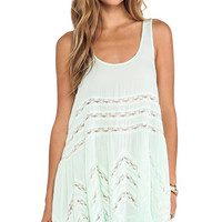 Free People Voile and Lace Trapeze Slip in Mint