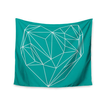 "Mareike Boehmer ""Heart Graphic Turquoise"" Teal Abstract Wall Tapestry"