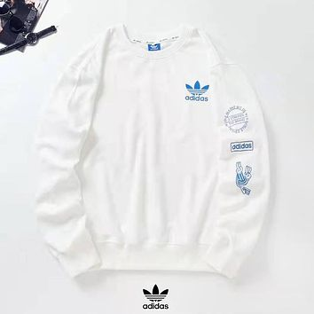 Adidas Popular Men Women Casual Print Round Collar Sweater Sweatshirt White