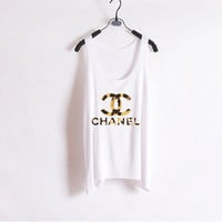 Leopard Chanel - Women Tank Top - White - Sides Straight