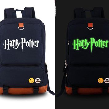 New Harry Potter Backpack Anime Canvas Student Luminous Schoolbag Unisex Travel Bags