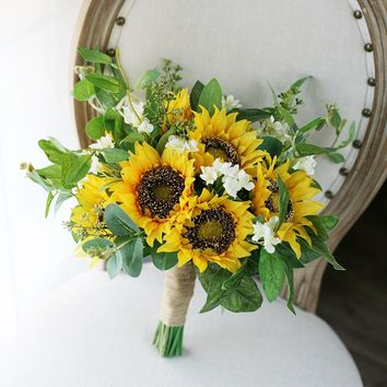 Sunflower wedding flower bouquet, sunflower bouquet