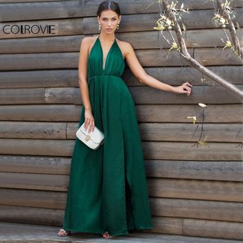 COLROVIE Sexy High Slit Satin Maxi Party Dress Women Plunge Neck Cross Back Summer Dresses Green Sleeveless Wrap Cami Dress