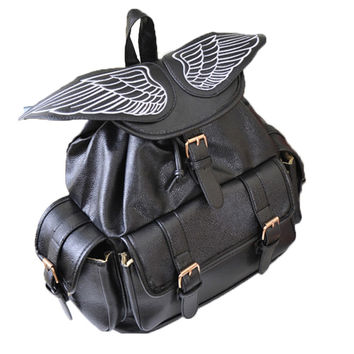 Anime Cartoon Angel Wings Sweet/Gothic Lolita Cosplay Backpack  Children Cartoon Color Lock Travel Backpacks Student School Bags