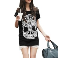 Women Short Sleeve Tee Shirts Skull Panel Summer Tops