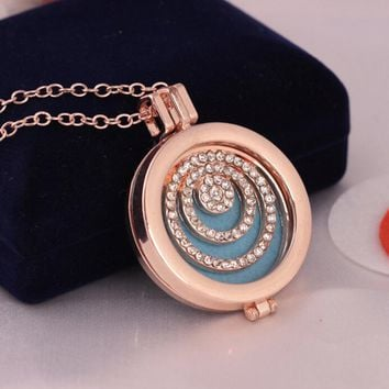 Round Peace New Style Box Cage Web Open Locket Pendant Perfume Essential Oil Aromatherapy Aroma Diffuser Necklace with Pad