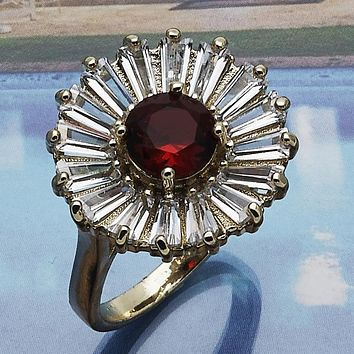 Gold Layered Women Flower Multi Stone Ring, with Garnet Cubic Zirconia, by Folks Jewelry