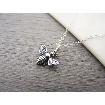 3D Bumblebee Charm Sterling Silver Necklace - Bee Pendant