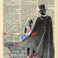 Sailor Moon and Tuxedo Mask Dictionary Art Print