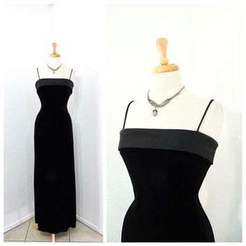 Black Velvet Dress Spaghetti Strap 80s Great Gatsby Maxi Evening Cocktail Gown Small