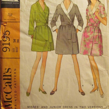 Sale Uncut/Cut 1960's McCall's Sewing Pattern, 9195! Size 14 Bust 36 Medium/Women's/Misses/Jr's/Thigh Length Dress/Kimono Robe Style Dress/R