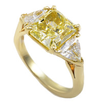 Tiffany & Co. Yellow Diamond Yellow Gold Three-Stone Engagement Ring