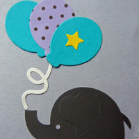Birthday Card with Elephant and Balloons (Handmade) Happy Birthday Elephant Card with Envelope