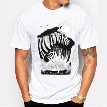 Latest 2017 fashion men's novelty forest design t-shirt for man funny tee shirts Hipster O-neck popular tops