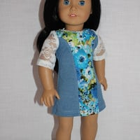 18 inch doll clothes, Ascot dress,blue floral dress,floral and lace dress, short sleeve dress,   american girl, Maplelea