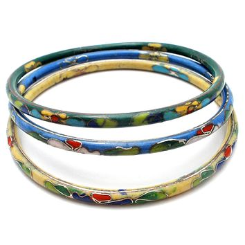 Three Vintage Chinese Enamel Flower Bangle Bracelets